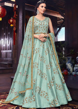 Embroidered Art Silk Abaya Style Suit in Pastel Blue