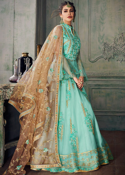Embroidered Lehenga Style Anarkali in Turquoise