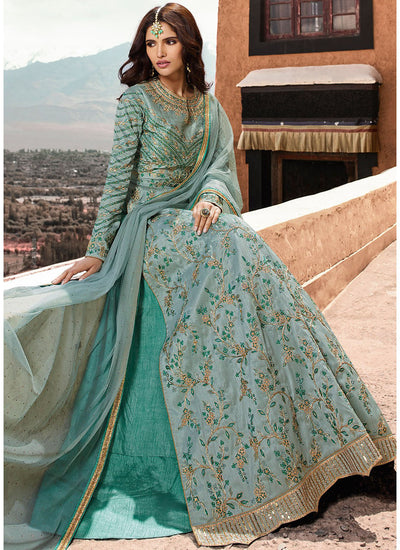 Embroidered Kurti Style Lehenga in Turquoise