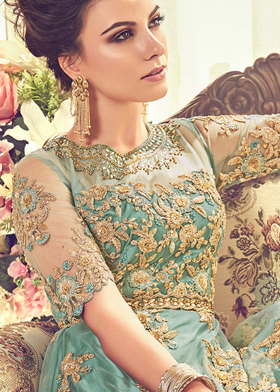 Embroidered Net Floor Length Anarkali in Turquoise