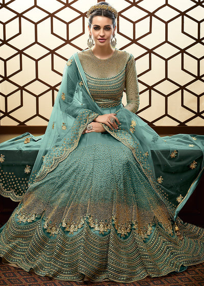 Floor Length Embroidered Anarkali in Turquoise