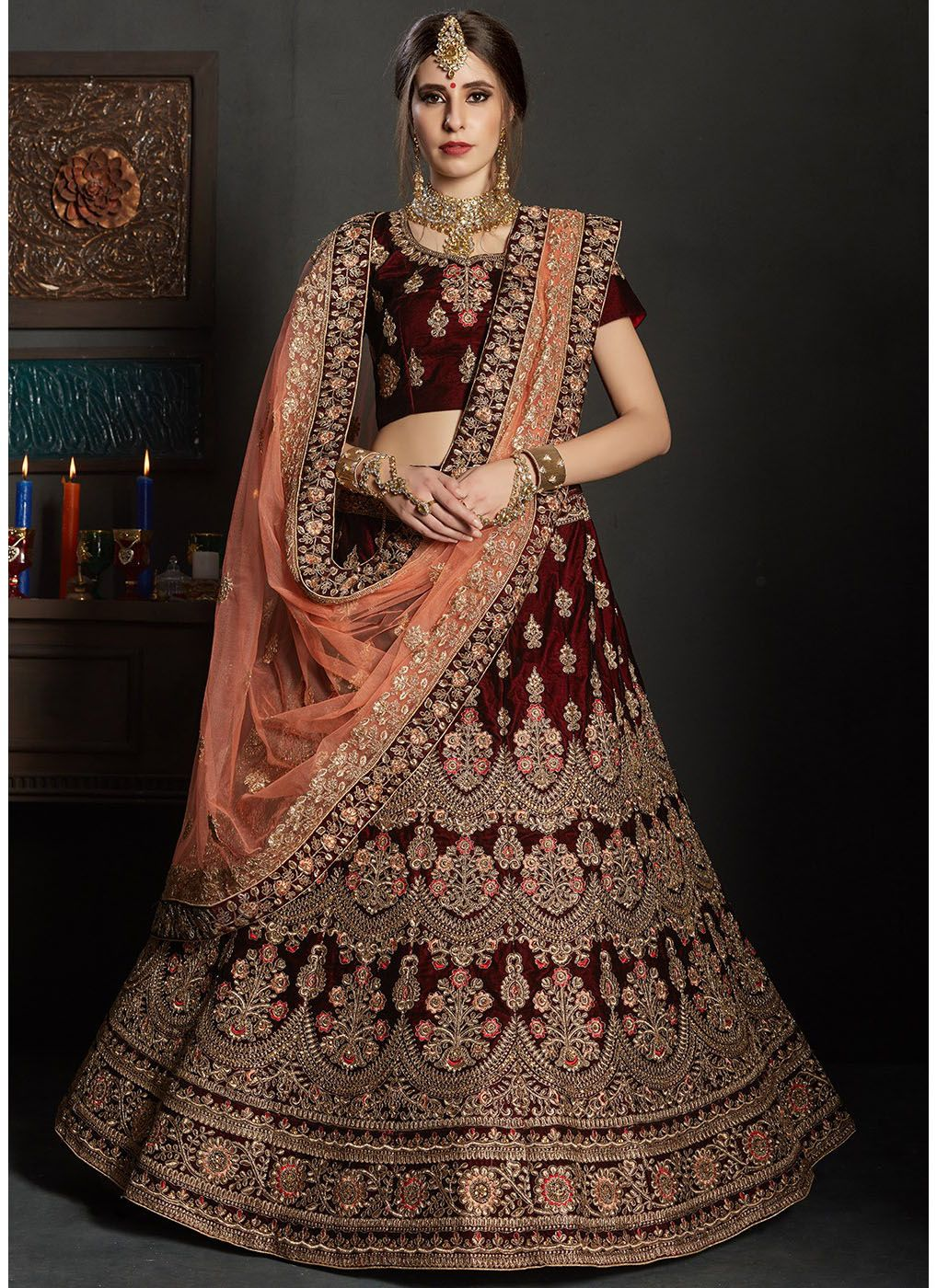 Velvet Wedding Lehenga in Maroon