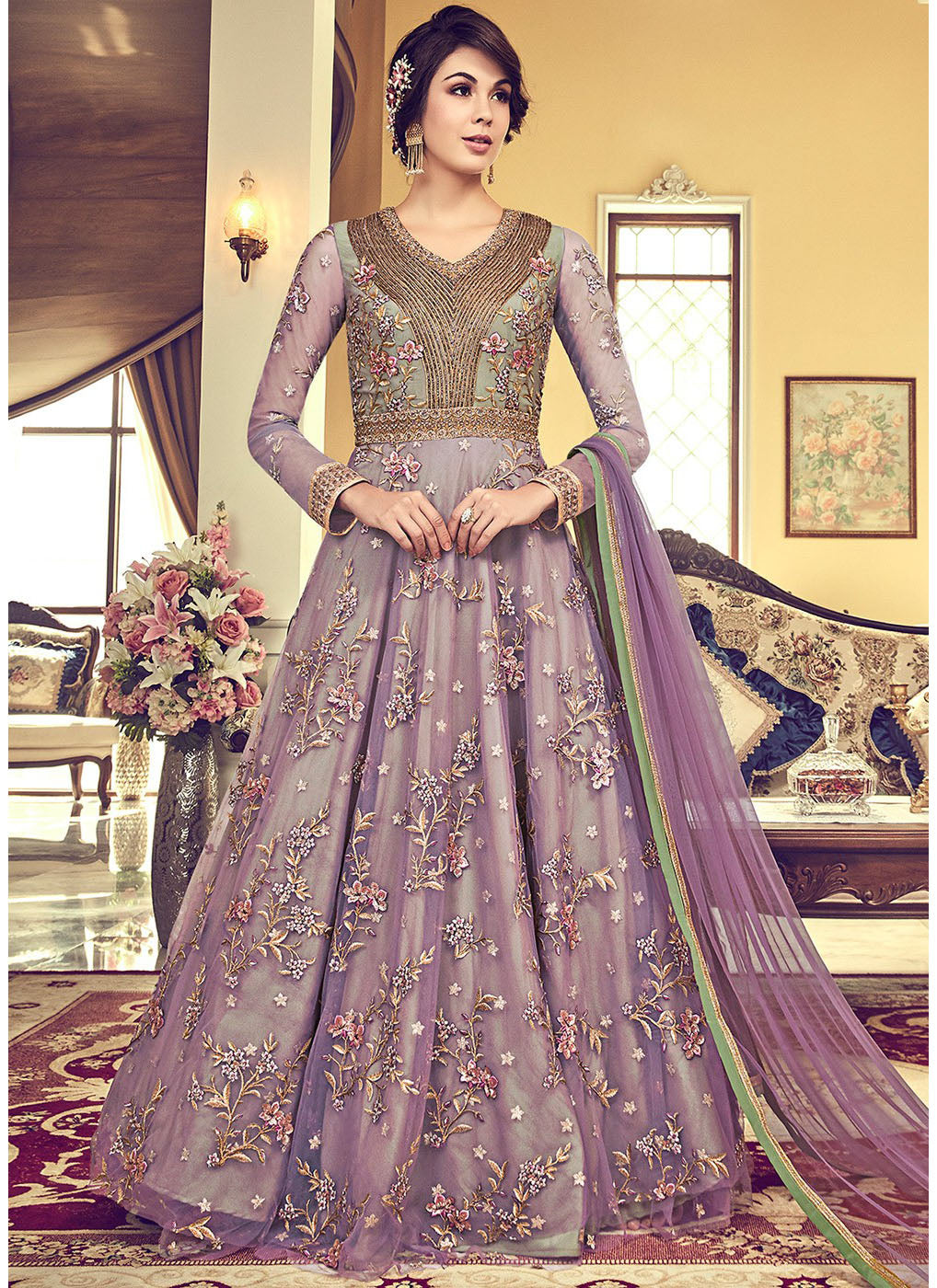Embroidered Floor Length Anarkali in Violet