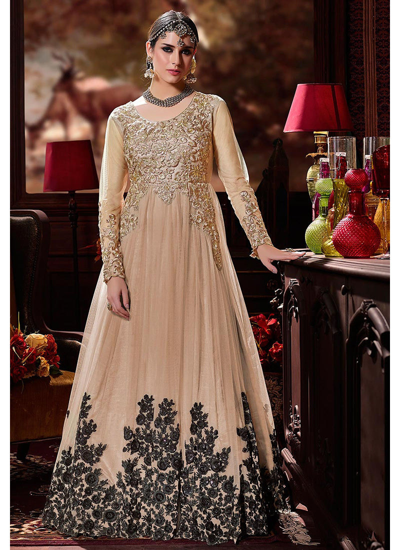 Party Wear Abaya Style Anarkali in Beige