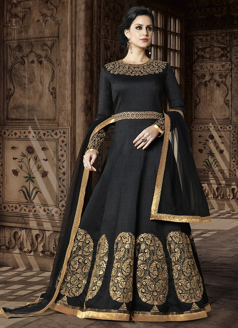 Black Embroidered Art Silk Abaya Style Dress