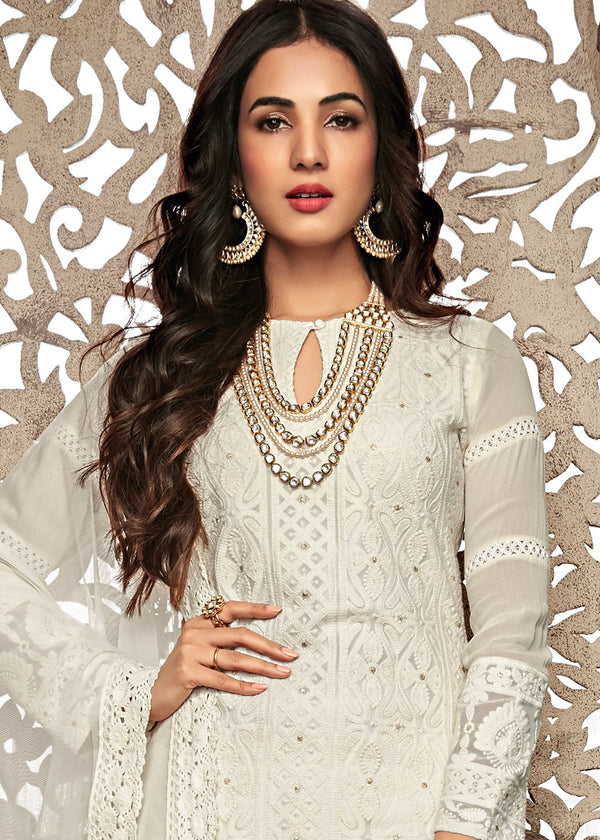 White Embroidered Palazzo Suit
