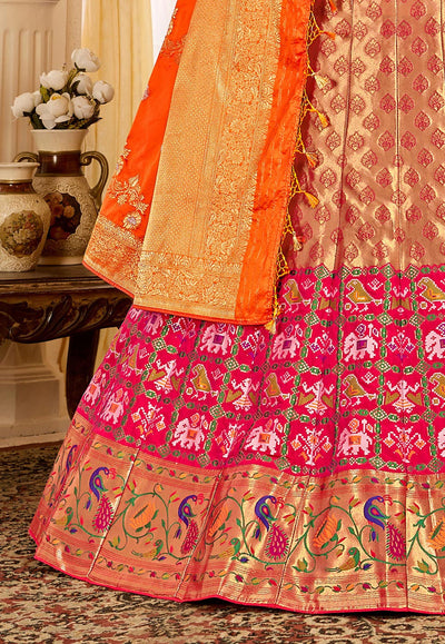 Woven Art Silk Jacquard Lehenga in Golden Pink