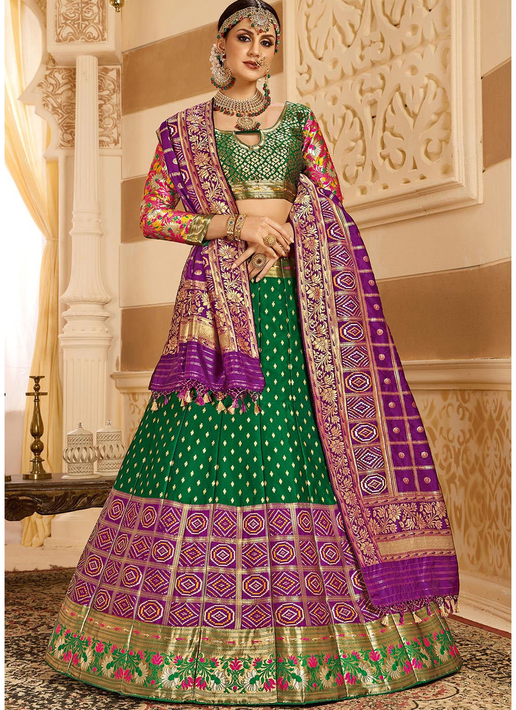Woven Art Silk Jacquard Lehenga in Dark Green
