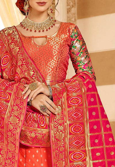 Woven Art Silk Jacquard Lehenga in Orange and Pink