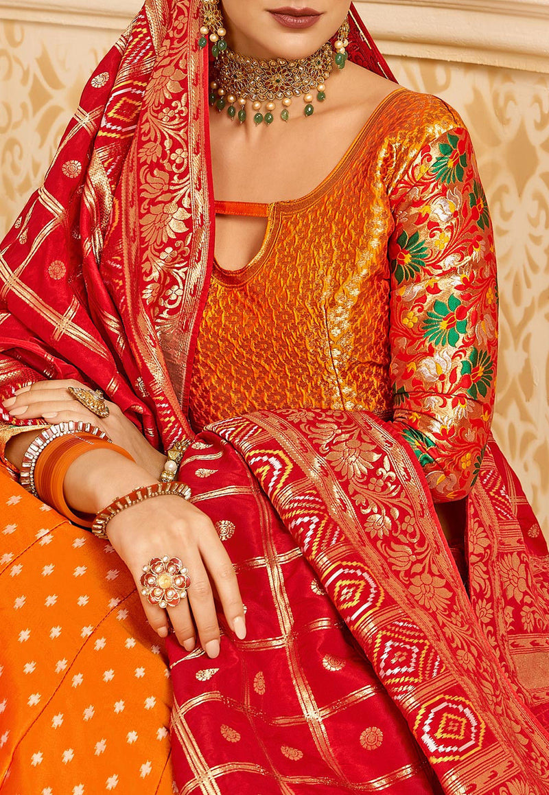Woven Art Silk Jacquard Lehenga in Orange and Red