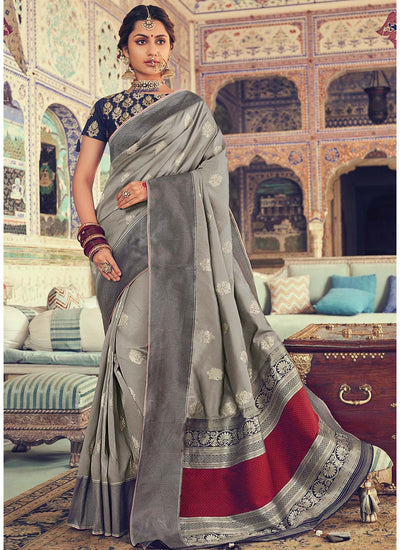 Grey Woven Art Silk Saree with Blue Blouse