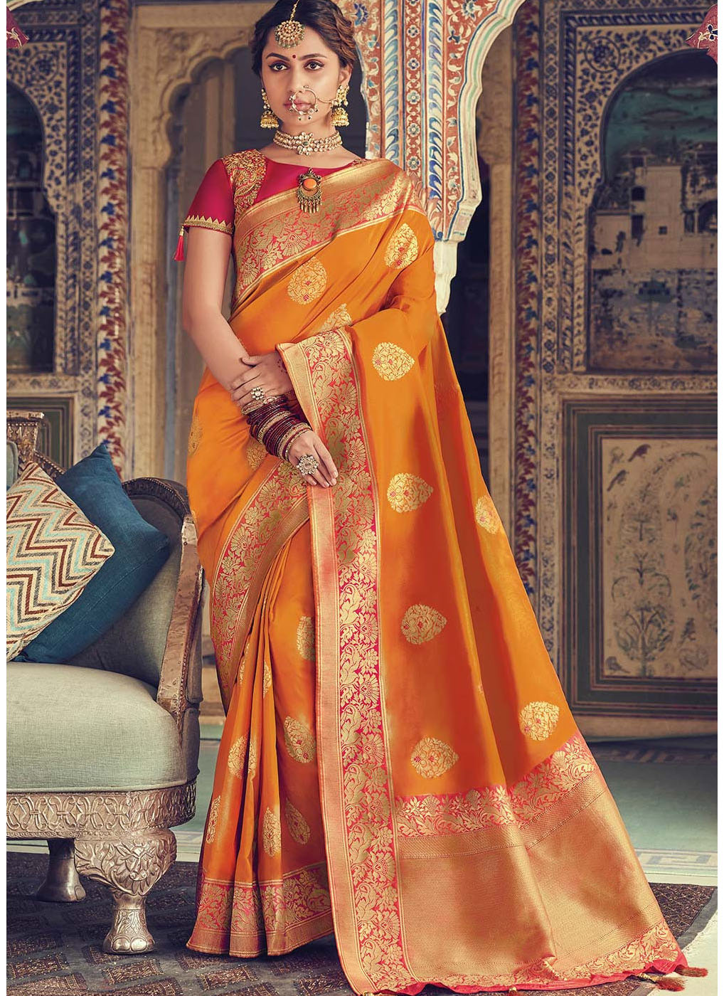 Orange Woven Art Silk Saree with Pink Blouse