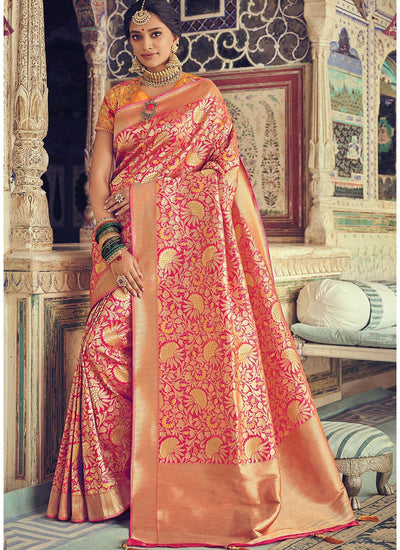 Pink Woven Art Silk Saree with Orange Blouse