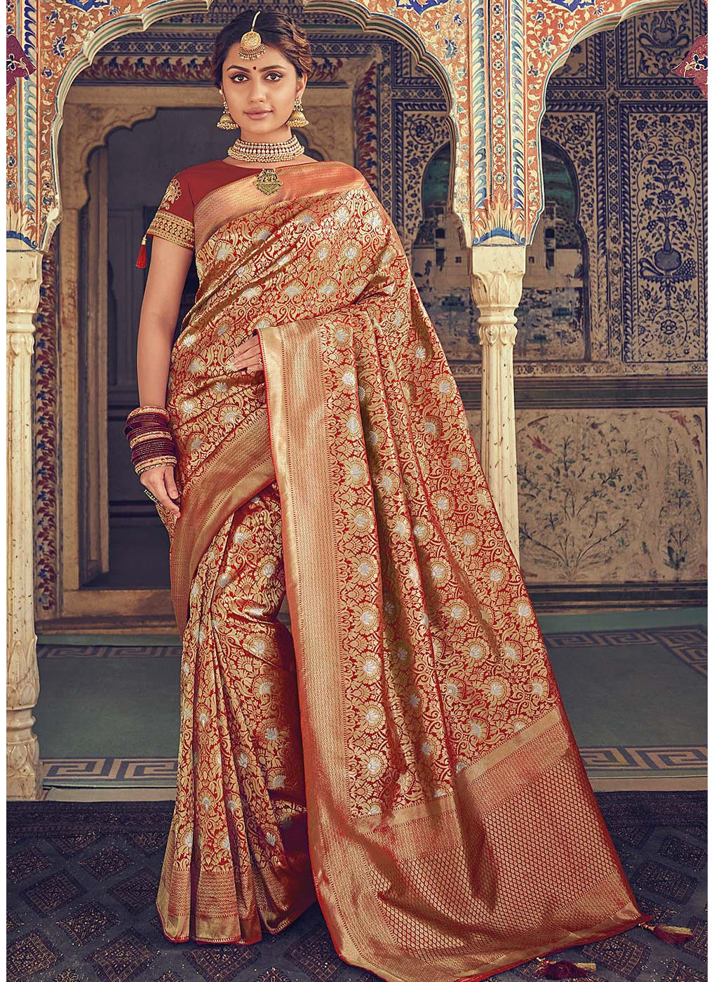 9e89921997 Red Woven Art Silk Saree with Short Sleeve Blouse