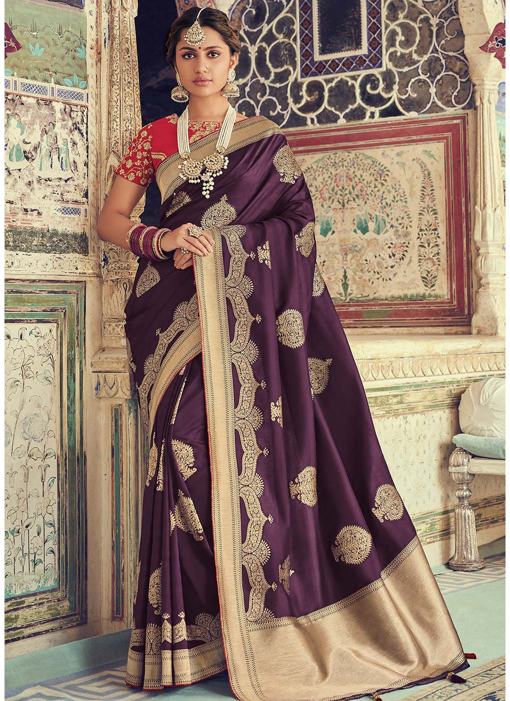 Purple Woven Art Silk Saree with Red Blouse