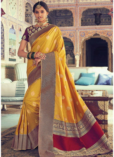 Yellow Woven Art Silk Saree with Purple Blouse