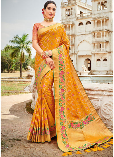 Yellow Banarasi Silk Saree with Peach Semi-Stitched Blouse