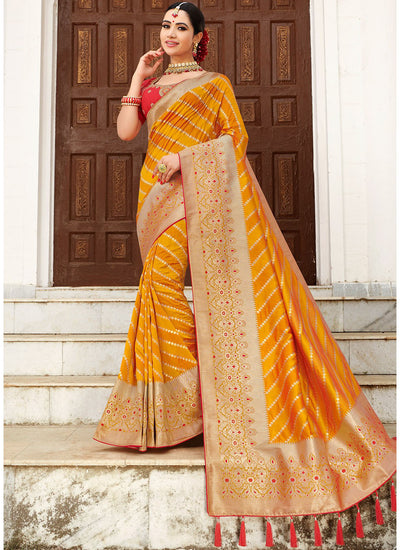 Yellow Banarasi Silk Woven Saree