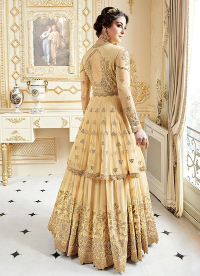 Embroidered Georgette Lehenga Kameez in Yellow
