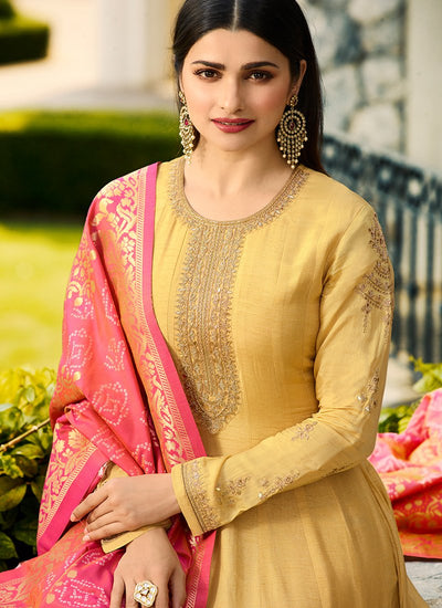 Embroidered Full Sleeve Abaya Style Kameez in Mustard Yellow
