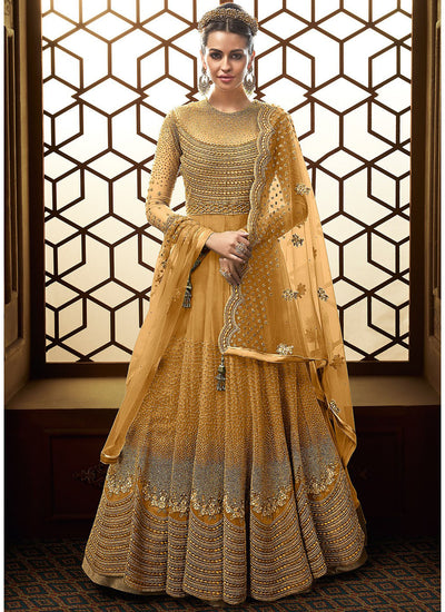 Floor Length Embroidered Anarkali in Yellow