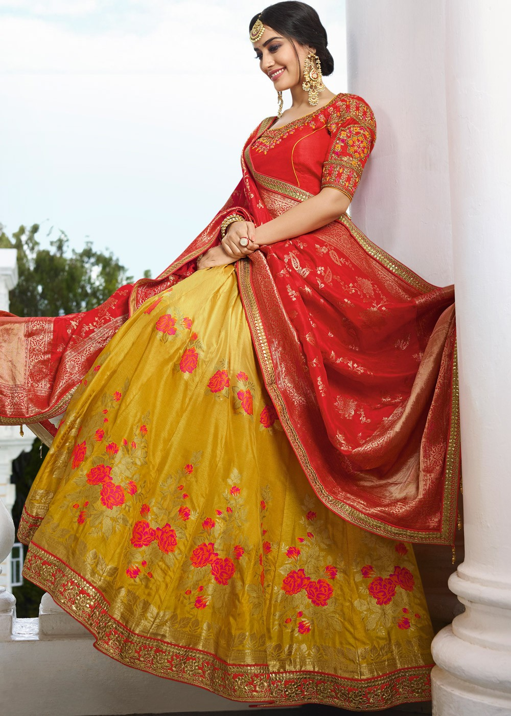Yellow Silk Wedding Lehenga with Red Art Silk Choli
