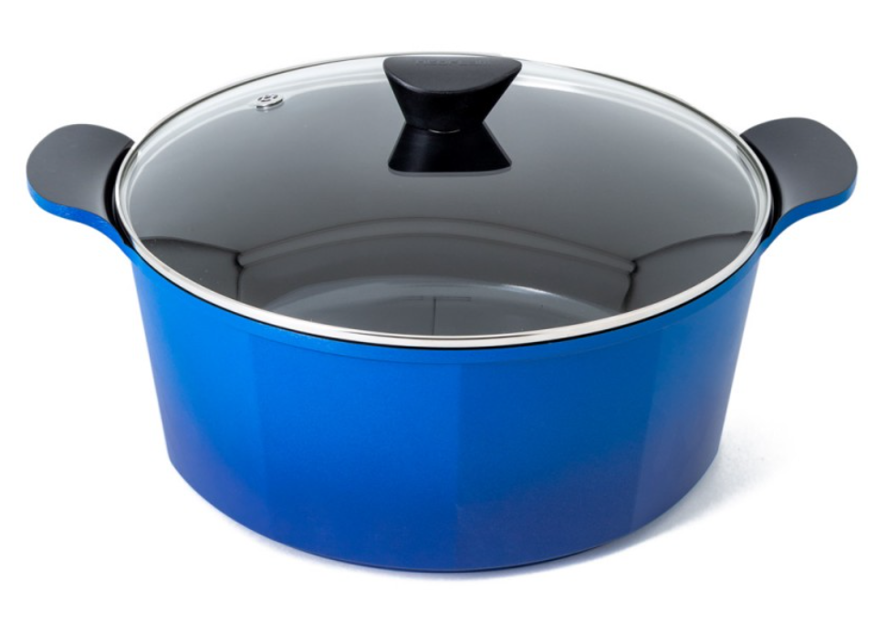 Neoflam Venn 32cm Casserole 9.60L Blue Induction with Glass Lid