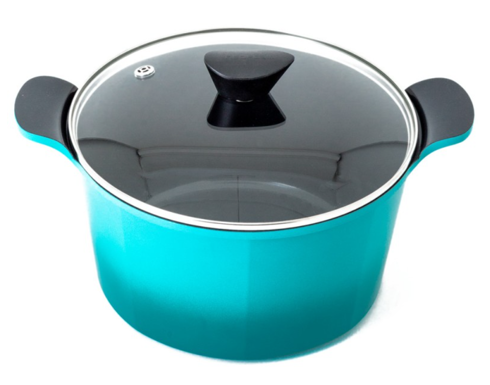 Neoflam Venn 26cm Deep Casserole 6.50L Turquoise with Glass Lid