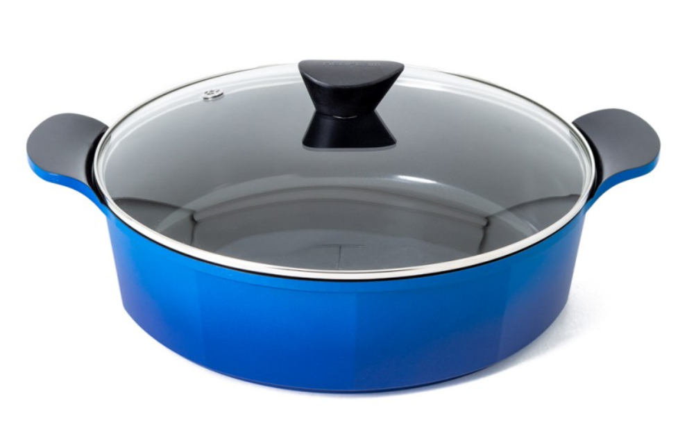 Neoflam Venn 32cm Low Casserole 6.25L Blue with Glass Lid