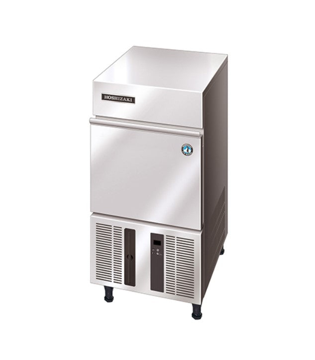 Hoshizaki Undercounter Ice Machine 25mm Cube 822H x 398W x 446D mm 18kg per day 11.5kg storage 3 year parts and labour warranty on entire unit 5 year parts only on compressor & air cooled condenser coil