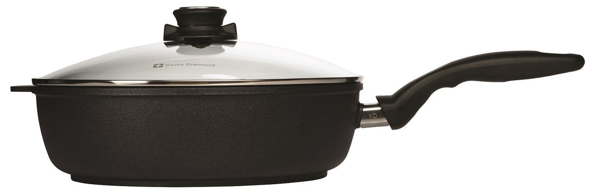 Swiss Diamond XD Induction 28cm X 7.5cm 4.2L Deep Sauté Pan + Glass Vented Lid