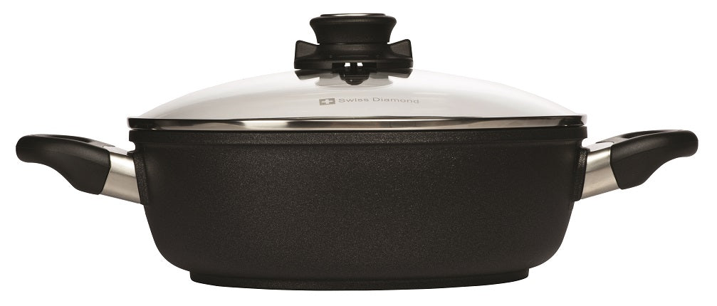 Swiss Diamond XD Induction 24cm X 7.5cm 3L Deep Round Casserole + Glass Vented Lid