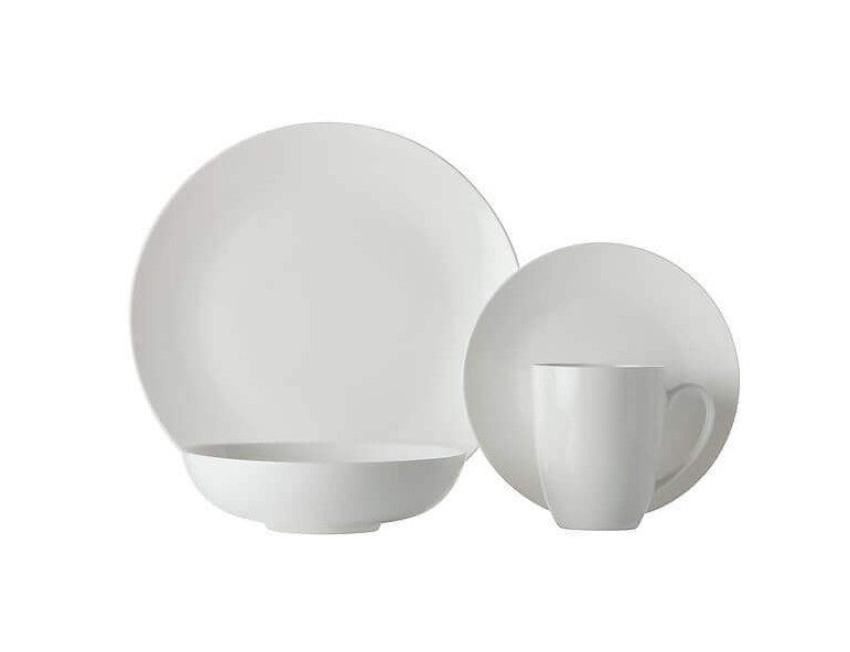 Maxwell and Williams White Basics Fitzrovia Coupe Dinner Set 16 Piece Gift Boxed