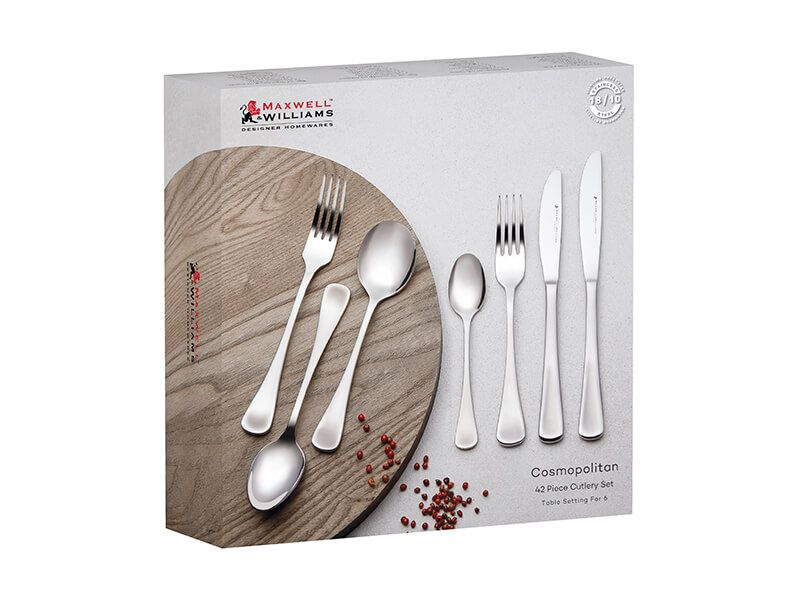 Maxwell And Williams Cosmo 42pc Cutlery Set Gift Boxed