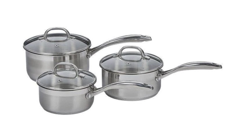 Swiss Diamond Premium Steel Induction Saucepan 3pc set 16cm 18cm 20cm