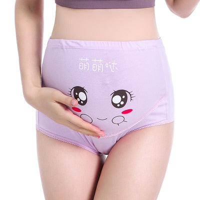 Cartoon Printed Cotton Maternity Panties