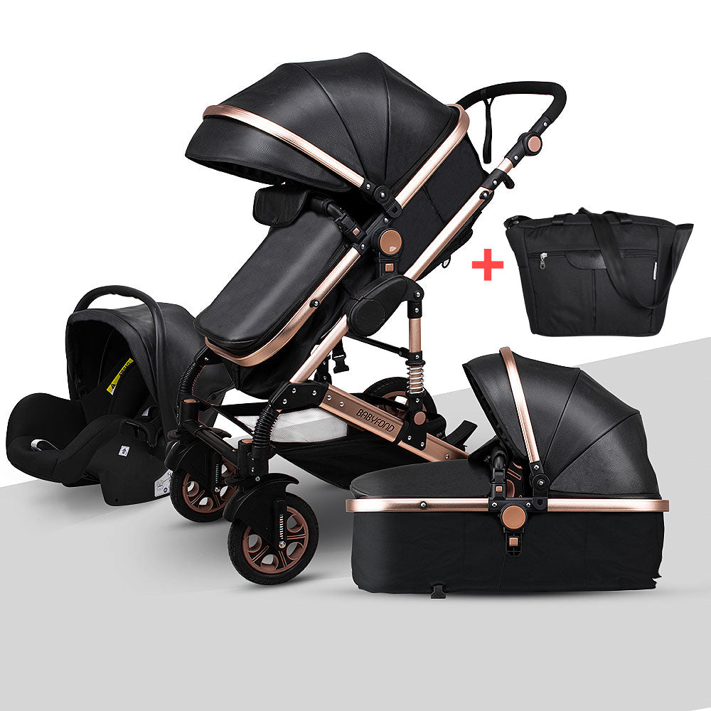 Newborn Baby Stroller 3 in 1 High Landscape Carriage Luxury Travel Pram