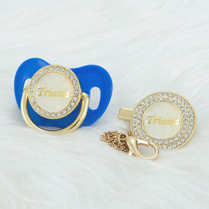 Custom gold pearl bling pacifier and pacifier clip