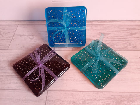 Coasters (pair) - Various colour choices with added silver sparkles
