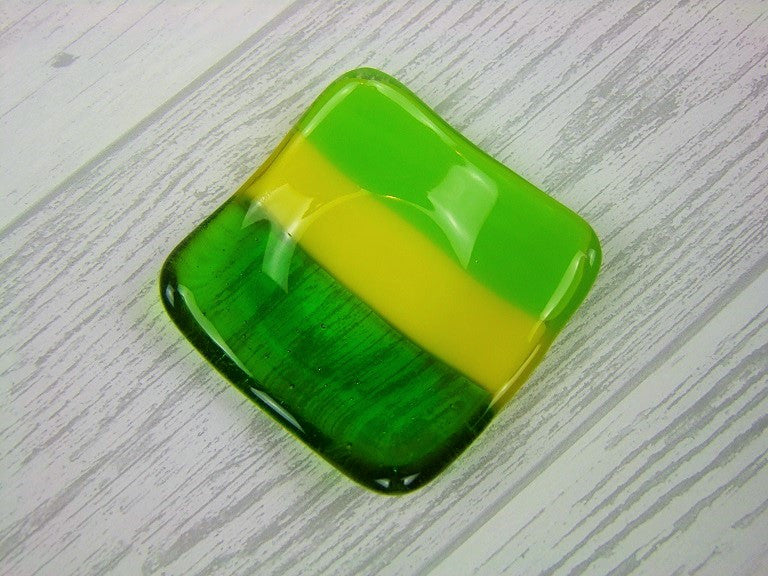 Tealight & Trinket Dish - Greens & Yellow (2)