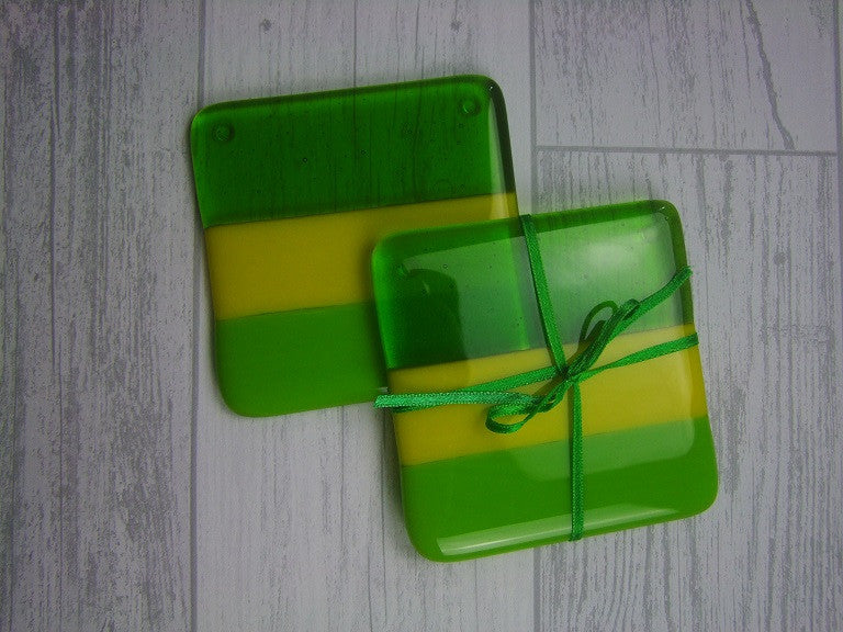 Coasters (pair) - Greens & Yellow (2)