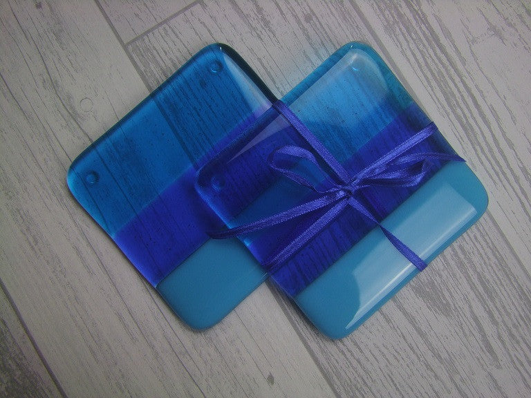 Coasters (pair) - Blue Stripes (3)