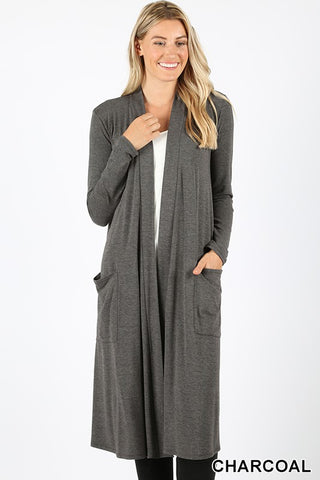 Best of Me slouchy knee length cardigan (Charcoal)
