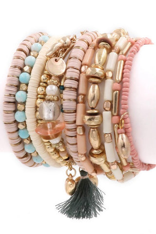 Don't Worry Be Happy pink multi bracelet set