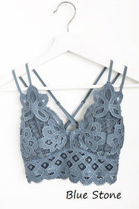 Adley crochet lace bralette (Blue Stone)