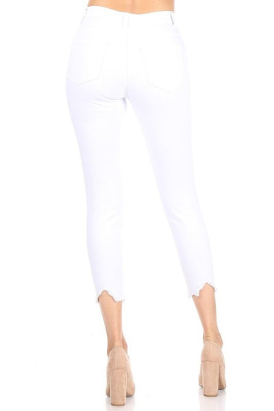 CURVY Drops of Jupiter high rise shark bite hem jeans (White)