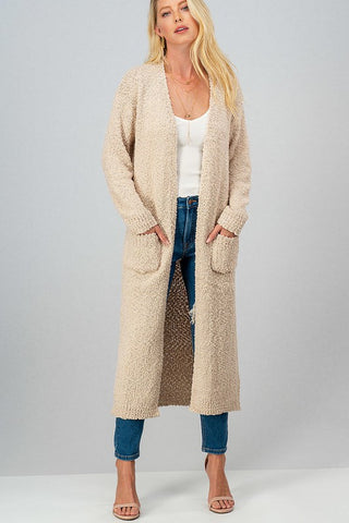 Express Yourself long popcorn knit cardigan with pockets (Taupe)