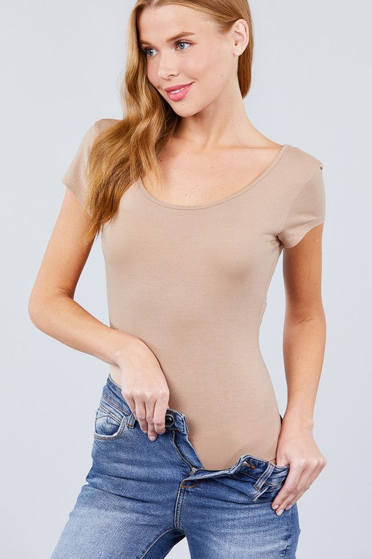 Addicted to Love short sleeve basic bodysuit (Khaki)