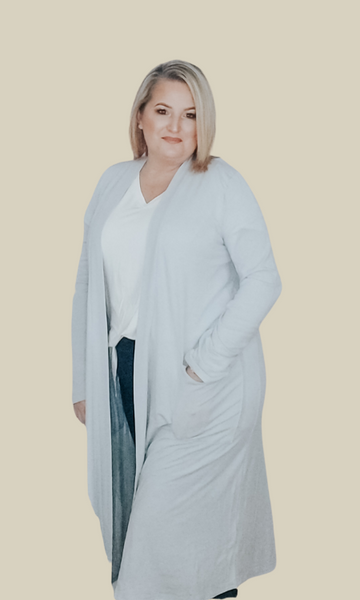 Best of Me slouchy knee length cardigan (Gray Mist)