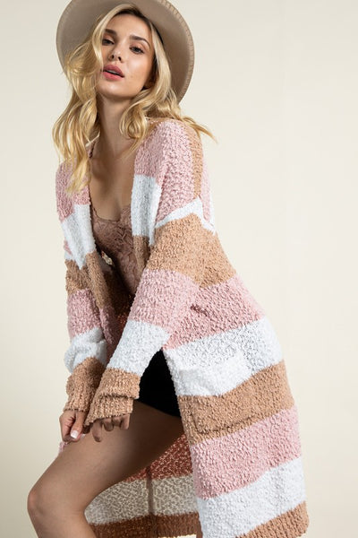 Hard To Forget multi striped popcorn cardigan (Neopolitan)